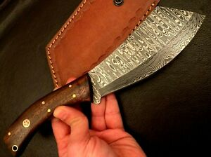 Handmade Damascus Steel Hatchet / Axe-Leather Sheath-Functional-Camping-dh17