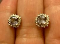 Designer 9 Ct Yellow Gold Tanzanite And Diamond Cushion Halo Earrings Studs