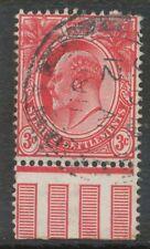 STRAITS SETTLEMENTS 1906, King Edward VII 3 C red superb marginal item VFU