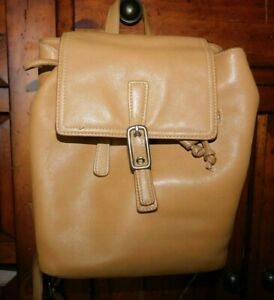 Coach Legacy Tan Leather Drawstring Backpack Book Bag 9858
