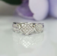 Gorgeous 14K White Gold Natural Diamonds Invisible Setting Engagement Ring