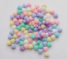 100pz misti perline cuore Acrylic 7mm color vari bijoux