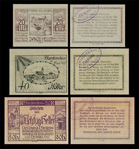 1920 AUSTRIA (PFARRKIRCHEN BEI BAD HALL) 3 'NOTGELD' BANKNOTE SET