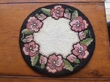Antique table size hooked rug fine detail floral Pansies pattern nice colors