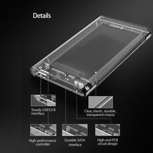 "ORICO USB 3.0 Clear 2.5"" SATA SSD HDD Hard Disk Drive Enclosure External Case"