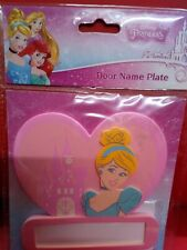 Lovely Disney Princess Self Adhesive Door Name Plate Pink Cinderella Heart - New
