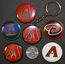 "Set of 5 1 1/2"" Pinback Buttons Arizona DIAMONDBACKS + Key Chain Retro Keychain"