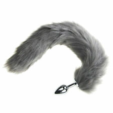 Gray Funny False Fox Tail With Stainless Steel Plug Romance Game Toy Cosplay US