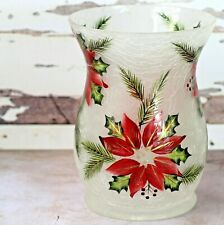 Yankee Candle Poinsettia Hurricane Jar Holder Frosted Crackle Glass Large Med