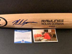 Nolan Gorman Cardinals Auto Signed Engraved Blonde Bat Beckett Rookie COA