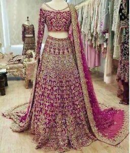 Bridal Wine Lehenga Golden Zari Embroidery Indian Saree Mirror Work Lengha Choli
