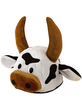 Black & White Bull Cow Animal Fancy Dress Hat With Horns Stag Night Novelty New