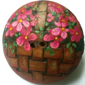 """Vintage Flower Basket Button, Hand Painted on Carved Wood by Hope Boltz, 1 3/4"""""""