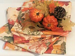 "Set of 4 16"" square Fall Harvest Pumpkin Cloth Napkins + 2 Matching Napkin Rings"
