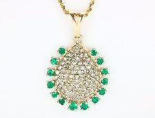 2.40 Cts Colombian Emerald & Diamond Pendant 14k Yellow Gold Fine Jewelry