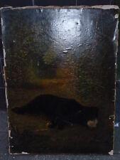 Antique victorian black bear couché dans une forêt oilograph impression sur toile