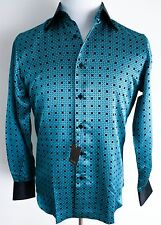 $1500 NEW STEFANO RICCI Blue and Black 100% Silk Dress Shirt Size Small