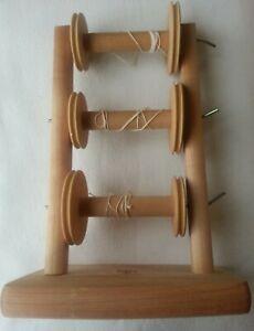 Ashford Vertical Lazy Kate bobbin holder for spinning. Made of Silver Beechwood.