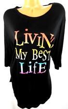 Miss Popular black multicolor Living my best life short sleeves plus tee top 3X