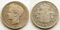 SPAIN-Alfonso XIII. 50 centimos 1896*9-6 Madrid. Plata 2,5 g. ESCASA