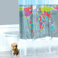 """NEW~LARGE MULTI-COLOURED """"WORLD"""" 70.5"""" x 78.5"""" SHOWER CURTAIN - 100% POLYESTER"""
