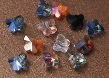 20pcs 10mm Butterfly Faceted Crystal Glass Charm Loose Spacer Beads Mixed Colors