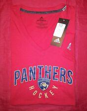 FLORIDA PANTHERS Hockey RED WOMENS Adidas NHL V NECK T-Shirt SZ S NEW NWT!