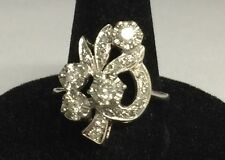 Unique 14KT White Gold Cocktail Diamond Ring TW 4.9 grams, No Reserve