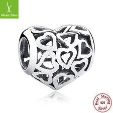 Romantic Silver Heart Charms Fit 925 Sterling Original DIY Bracelets,Snake Chain
