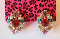 Betsey Johnson Crystal Rhinestone Flower Post Earrings