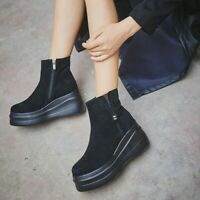 Womens Flat Platform Wedge Heel Ankle Boots Round Toes Pull On Zip Black Shoes