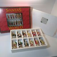 Santas From Around The World  Porcelain Hand Painted Figures 12pc Vintage