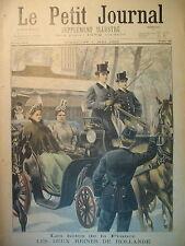 REINE DE HOLLANDE PAYS BAS WILHELMINE A PARIS FIACRE LE PETIT JOURNAL 1898