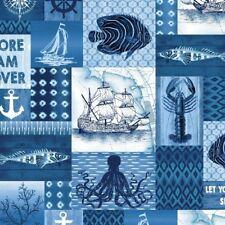 Coastal Indigo Cotton Quilt Fabric Studio E Patchwork E3991-77  BTHY