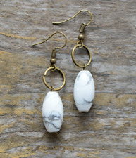 Howlite Natural Stone Drop Dangle Earrings Oval bronze Boho White beaded