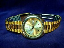 SERVICED~Seiko 7006-7168 Mens 17J Automatic Calendar Gold Plated Mens Watch