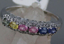 Natural Pink Blue Yellow Green Sapphires Solid 14K White Gold Ring Band 2.3g
