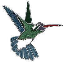 White-eared Hummingbird cloisonne enamel lapel pin