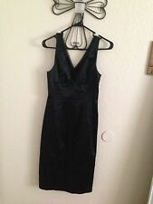 Bebe Black Pencil Dress With Top Lace Trim - Size: Medium