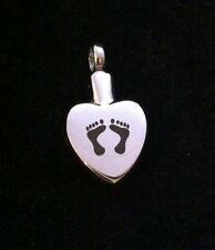 Cremation Pendant for ashes hair keepsake 'footprints on your heart' Funeral