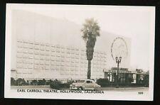Circa 1949 RPPC Earl Carrol Theatre Hollywood CA  Great Old Car B4316
