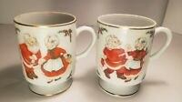 Set of 2 Vintage Santa Mr  Mrs Claus Christmas Lefton Japan Mug Coffee Cups 1314