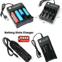 1 2 Slots 18650 Batteries 3000mAh 3.7V Li-ion USB Rechargeable Battery Charger