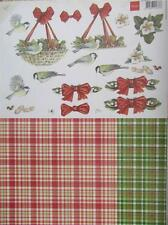 A4 3D Paper Tole with Printed 1/2 Sheet Christmas Birds Bows 3 Pictures