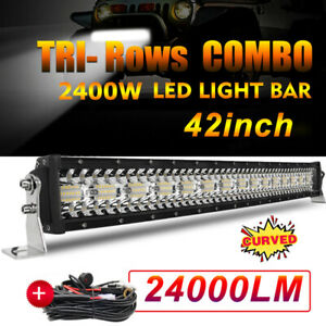 "TRI-Row 42inch 2400W Curved LED Light Bar Spot Flood Truck Offroad VS 40""44""46"""