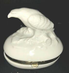 Andrea by Sadek White Porcelain Hinged Trinket Box ~ Bird of Prey Eagle Hawk