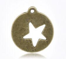 Antique Bronze Star Charm Round Pendant - 1 PIECE