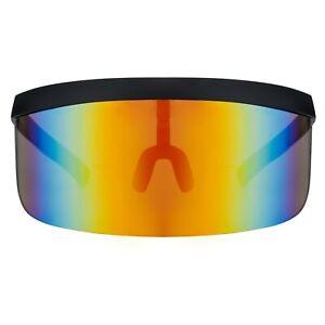 Futuristic Oversize Shield Visor Sunglasses Flat Top Mirrored Mono Lens