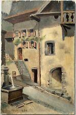 Tableau Peinture Par Eugène Kock paysage Fontaine Village Alpes Sud France 1900