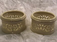 Lenox Ivory and Gold Porcelain and Gold Filigree Votive Holder Pair